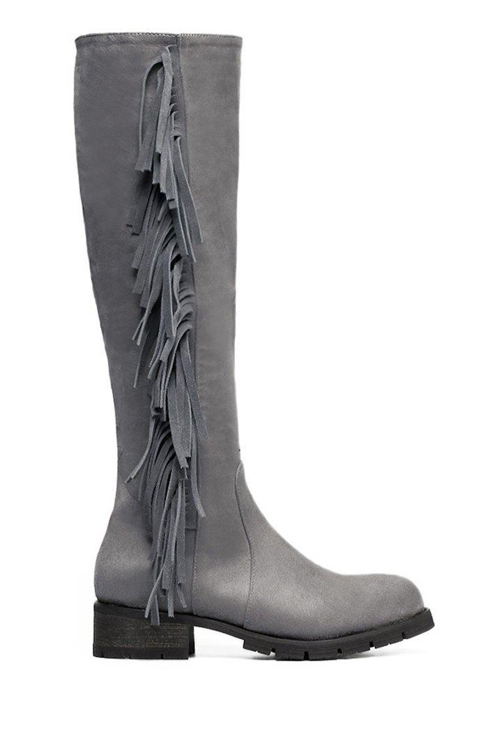 Trendy Fringe and Suede Design Women's Knee-High Boots - GRAY 35