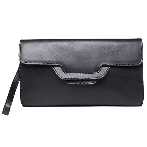 Trendy PU Leather and Solid Colour Design Cluth Bag For Men - BLACK