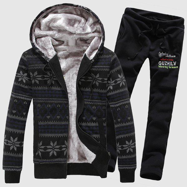 Drawstring Hooded Snowflake Print Rib Spliced Flocky Men's Long Sleeves Hoodie+Sweatpants - BLACK 2XL