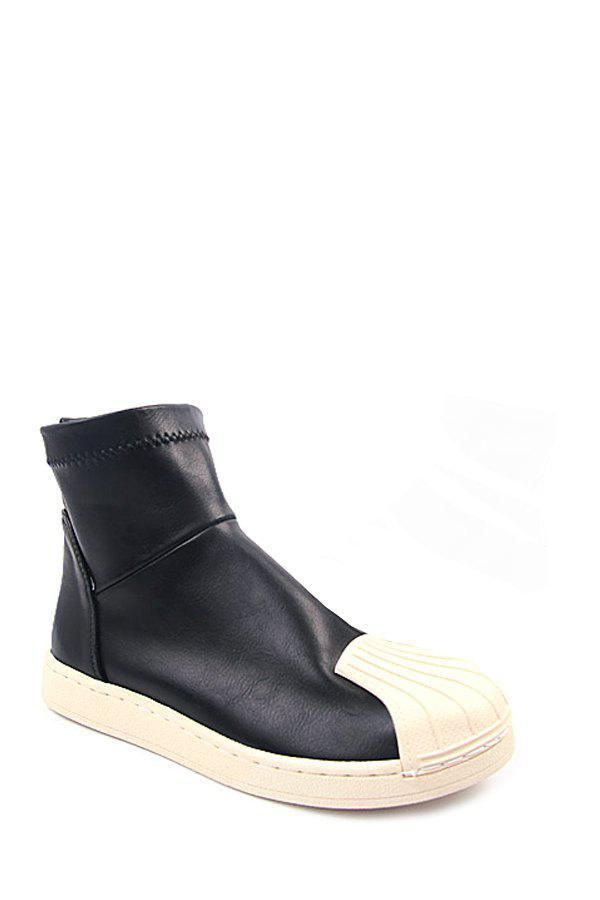 Casual Shell-Toe and PU Leather Design Women's Short Boots - 37 BLACK