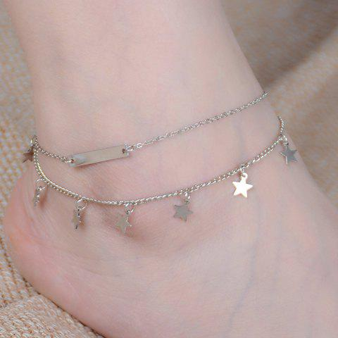 Star Shaped Layered Charm Anklet - SILVER