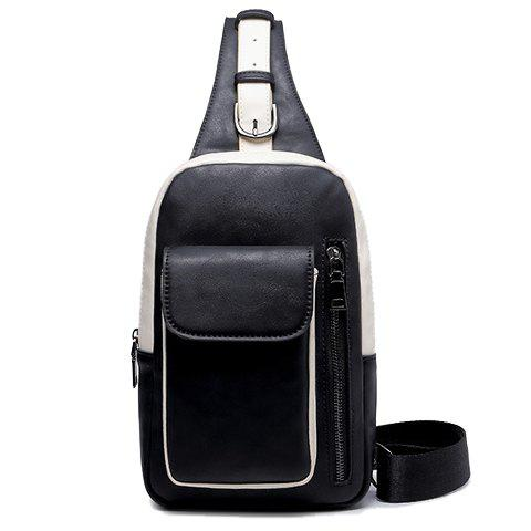 Stylish Color Block and Buckle Design Messenger Bag For Men -  BLACK