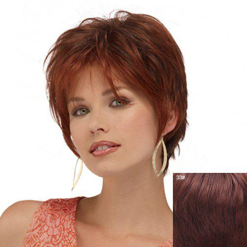 Fluffy Curly Assorted Color Side Bang Capless Stunning Short Women's Real Human Hair Wig - DARK AUBURN BROWN