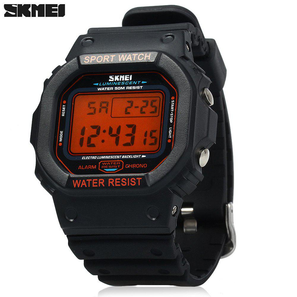Skmei 1134 Sports Men Digital Wrist Watch Week Alarm Backlight  5ATM Water Resistant - ORANGE