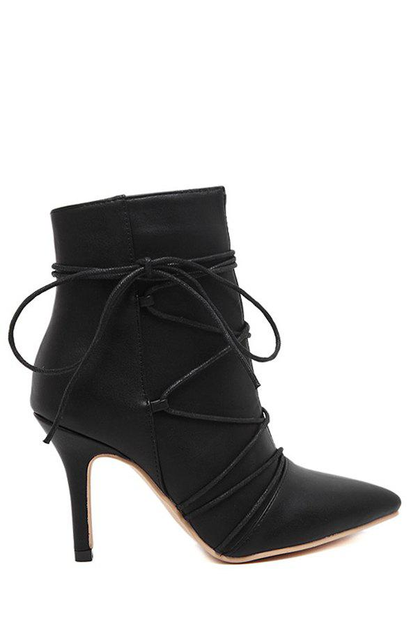 Trendy Criss-Cross and Black Design Women's Short Boots - BLACK 38