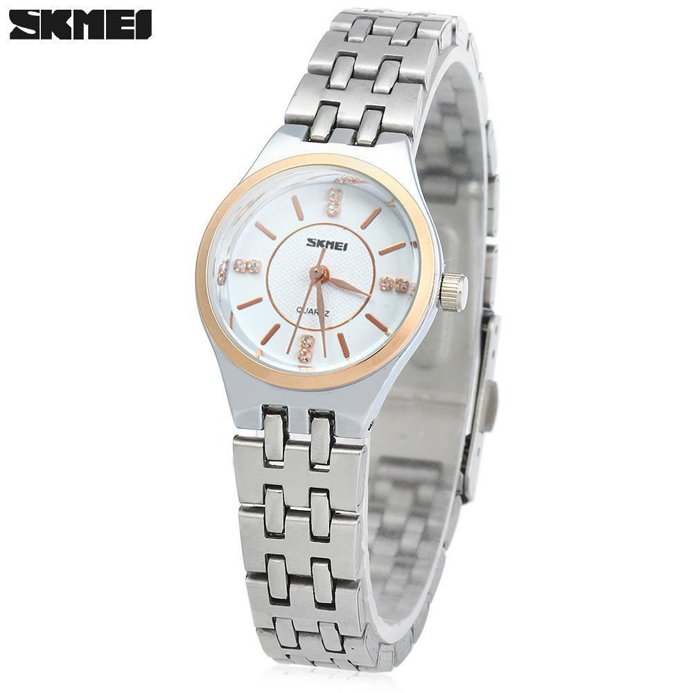 Skmei 1133 Female Quartz Watch Round Dial Steel Band 30M Water Resistant - GOLDEN