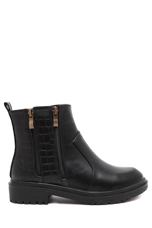Trendy Zippers and Stone Pattern Design Women's Short Boots - BLACK 39