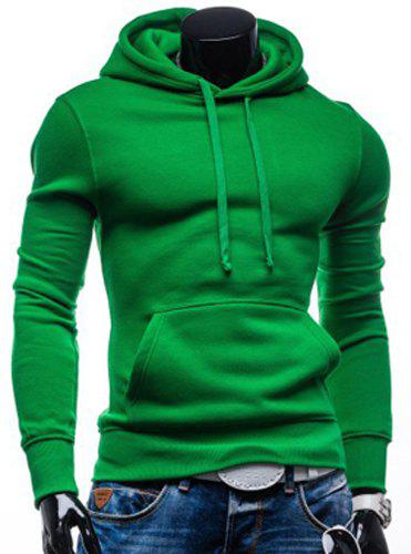 Laconic Drawstring Hooded Solid Color Front Pocket Fitted Men's ...