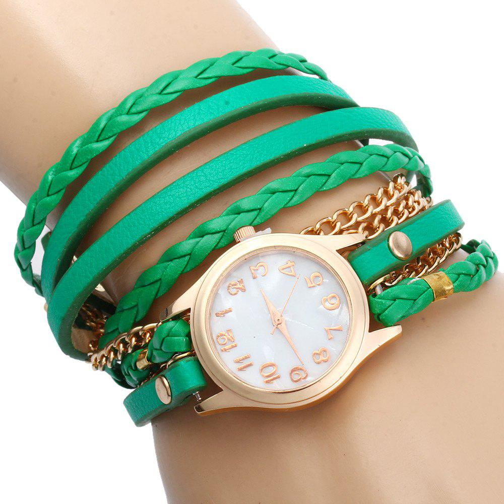 Women Vintage Weave Wrap Leather Bracelet Wrist Watch - GREEN