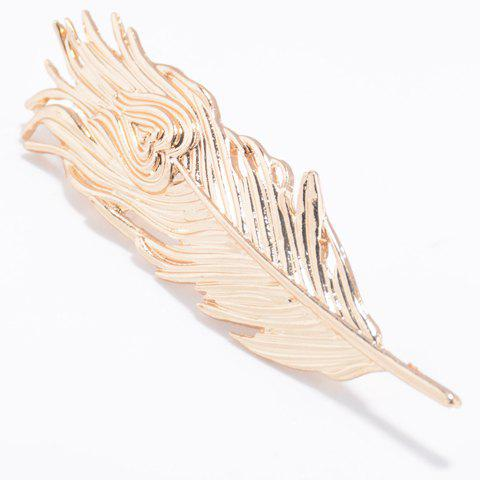 Trendy Solid Color Feather Shape Hairpin For Women - GOLDEN