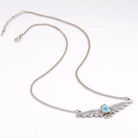 Chic Pure Color Eagle Shape Pendant Necklace For Women - SILVER