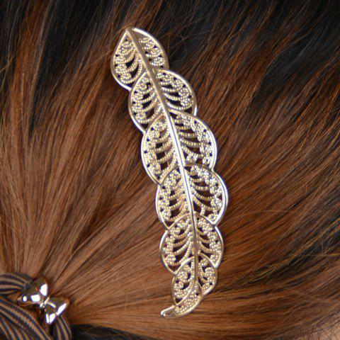 Stylish Solid Color Hollow Out Leaf Shape Hairpin For Women - GOLDEN