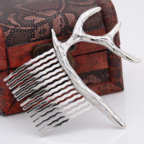 Chic Pure Color Deer Shape Hair Comb For Women - SILVER
