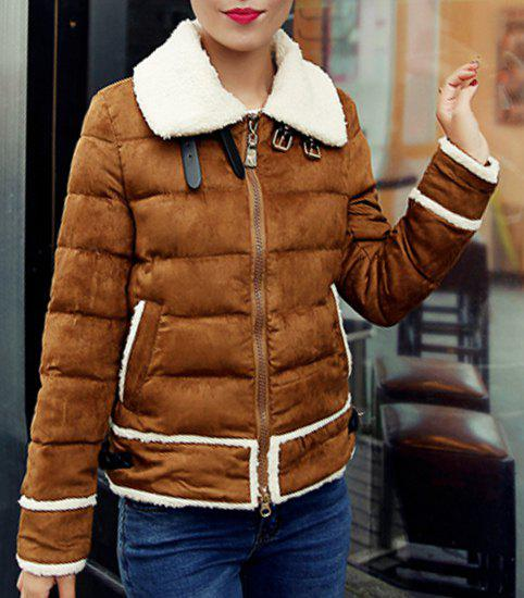 Chic Turn-Down Collar Long Sleeve Zippered Spliced Women's Coat - COFFEE XL