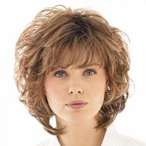 Fluffy Curly Elegant Medium Full Bang Capless Fashion Brown Mixed Synthetic Women's Wig - COLORMIX