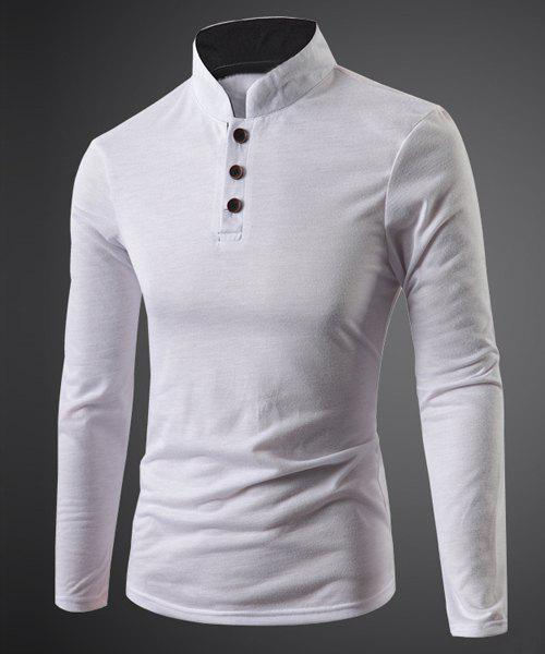 Three Button Single-Breasted Solid Color Stand Collar Long Sleeves Men's Fitted T-Shirt - WHITE L