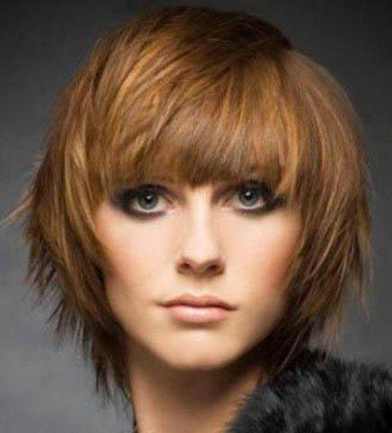Fluffy Straight Synthetic Stylish Brown Mixed Full Bang Capless Stunning Short Women's Wig