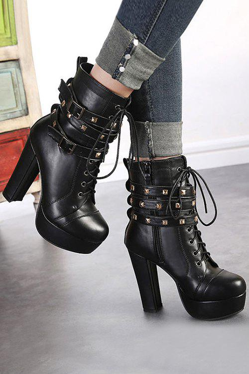 Trendy Rivet and Platform Design Women's High Heel Boots - BLACK 34