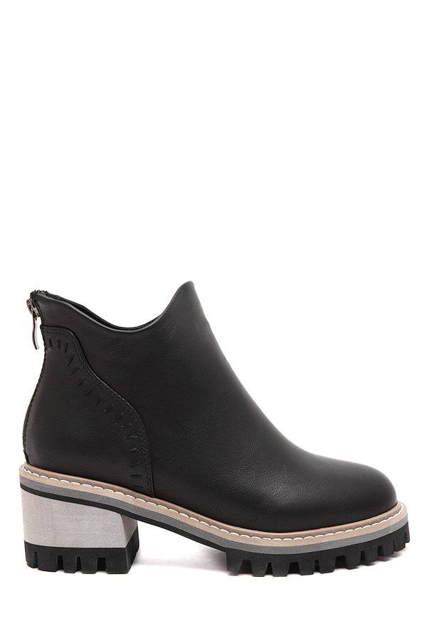 Retro Stitching and Solid Color Design Women's Ankle Boots - BLACK 36