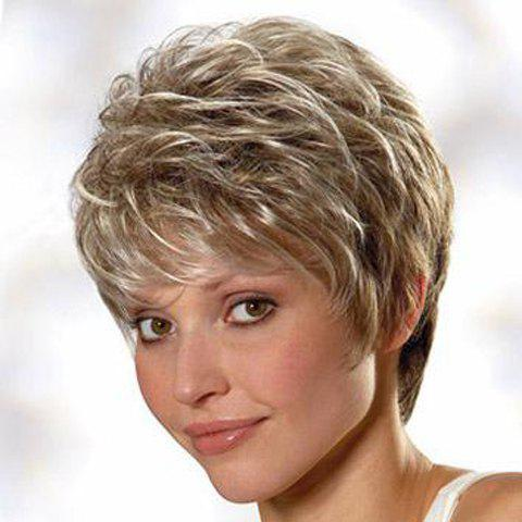 Fluffy Natural Wavy Synthetic Spiffy Short Haircut Capless Sparkle Mixed Color Women's Wig