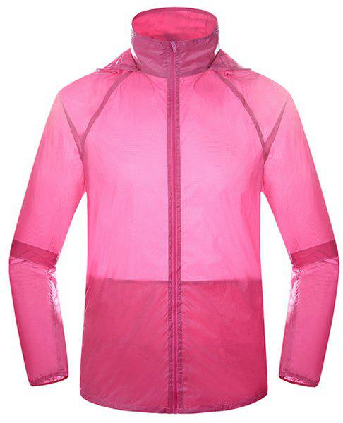Active Style Hooded Long Sleeve Candy Color Women's Wind Jacket - ROSE XL