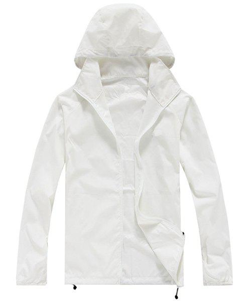 Active Style Hooded Long Sleeve Solid Color Women's Wind Jacket - WHITE 2XL