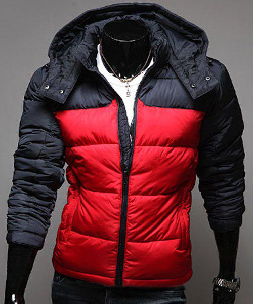 Color Block Splicing Hooded Simple Long Sleeve Men's Cotton-Padded Jacket - RED L