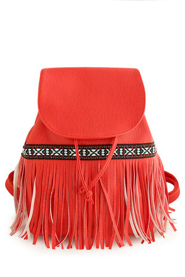 Ethnic Style Fringe and Cover Design Women's Satchel - RED