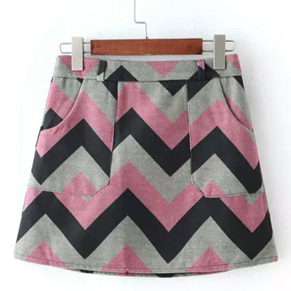 Stylish High-Waisted Pocket Design Zigzag Women's Winter Skirt - LIGHT PINK M