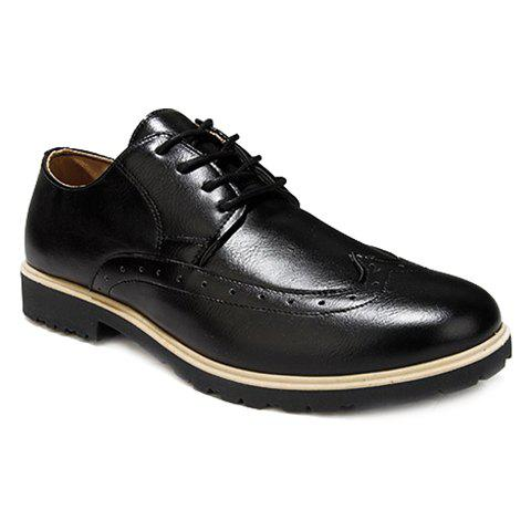 Fashion Lace-Up and Pure Color Design Men's Formal Shoes - BLACK 44