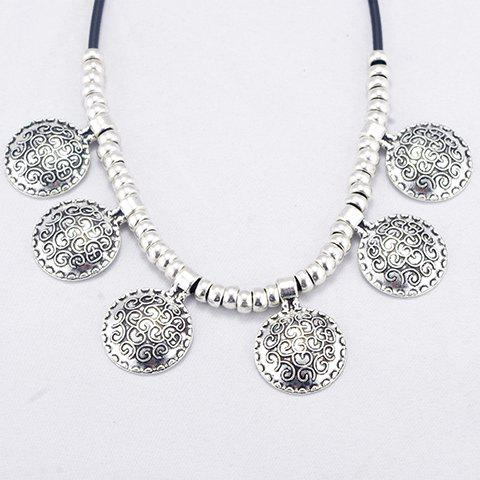 Trendy Carved Geometric Faux Leather Cord Necklace For Women - SILVER
