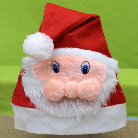 Hot Sale Father Christmas Face Shape Embellished Men and Women's Festival Beanie -  RED
