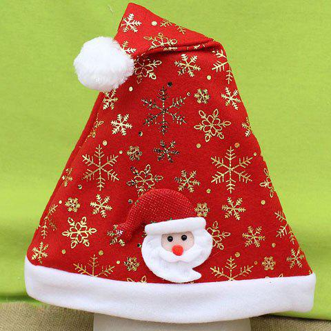 Chic Father Christmas and Snowflake Shape Embellished Women's Festival Beanie - RED