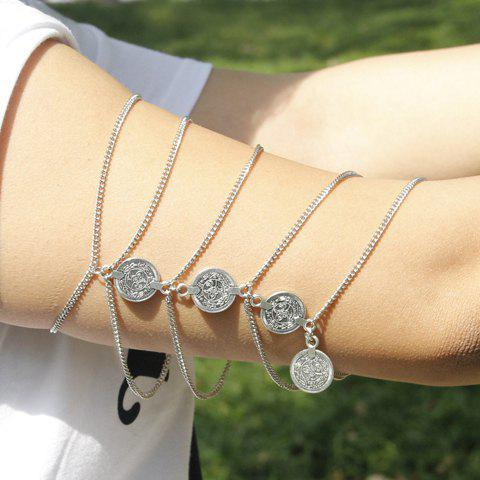 Trendy Pure Color Round Coin Arm Chain For Women