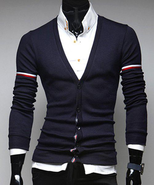 Slimming V-Neck Stripe Design Long Sleeve Men's Cardigan - CADETBLUE L