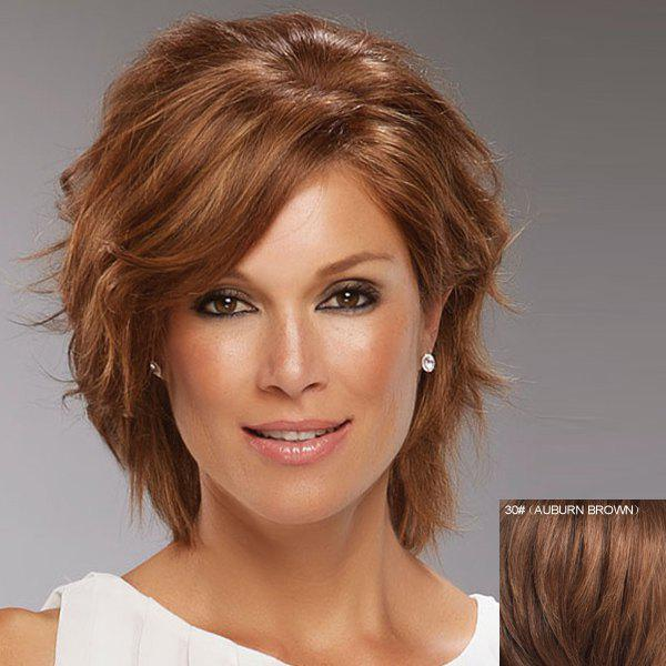 Shaggy Wave Ladylike Short Side Bang Fashion Real Natural Hair Women's Lace Front Wig - AUBURN BROWN
