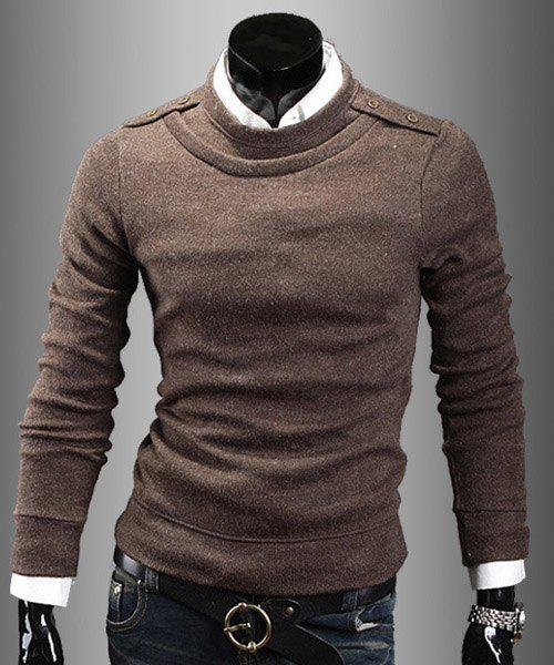 Faux Twinset Round Neck Epaulet Button Embellished Solid Color Men's Long Sleeves Sweater - L BROWN