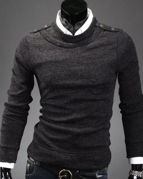 Faux Twinset Round Neck Epaulet Button Embellished Solid Color Men's Long Sleeves Sweater - SMOKY GRAY XL