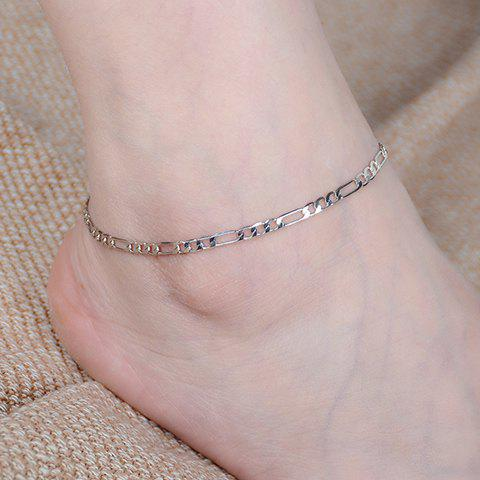 Sweet Solid Color Chain Fancy Anklets - SILVER