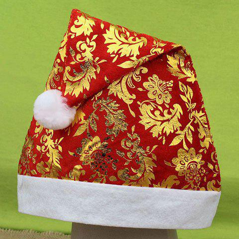 Chic Gilding Plant Pattern Women's Christmas Beanie - RED