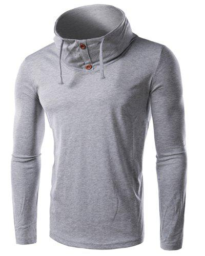 Slimming Cowl Neck Button Embellished Long Sleeve Men's T-Shirt - GRAY L