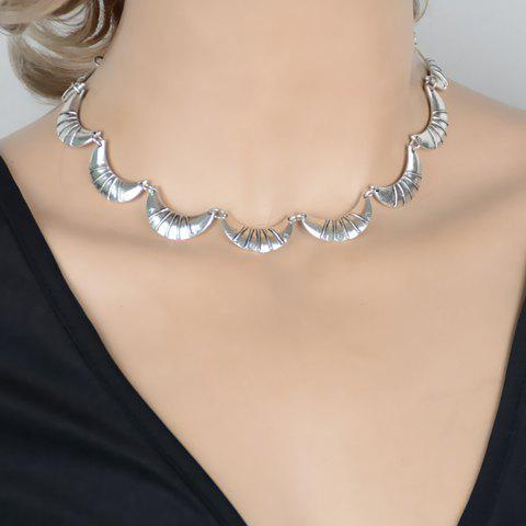 Hollow Out Moon Shape Necklace - SILVER