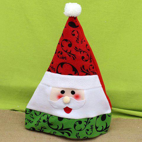 Hot Sale Santa Claus Face and Vine Pattern Design Men and Women's Festival Beanie - RED