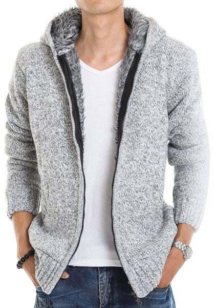 Casual Fitted Hooded Patch Pocket Assorted Color Men's Long Sleeves Thicken Cardigan - LIGHT GRAY XL