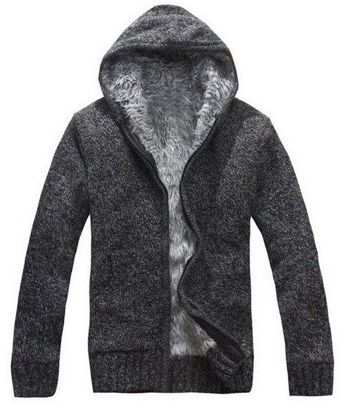 Casual Fitted Hooded Patch Pocket Assorted Color Men's Long Sleeves Thicken Cardigan - DEEP GRAY XL