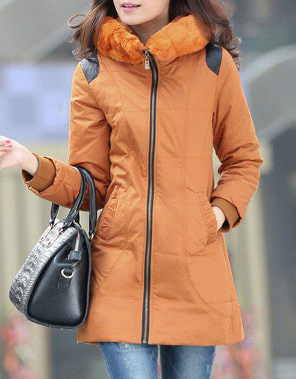 Fashionable Women's Hooded Long Sleeve PU Leather Splicing Coat - BROWN XL
