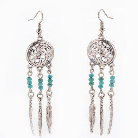 Pair of Trendy Hollow Out Round Shape Feather Earrings For Women - LAKE BLUE