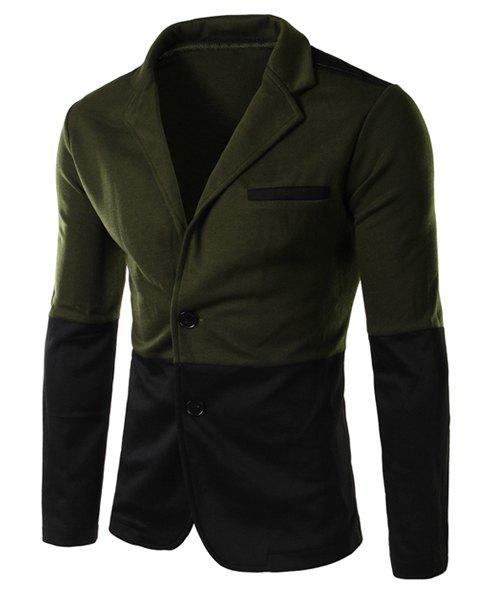 Lapel Edging Single Breasted Color Block Spliced Long Sleeve Slimming Men's Blazer - ARMY GREEN L