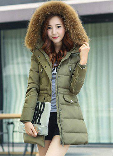 Fashionable Women's Fur Collar Pure Color Long Sleeve Coat - ARMY GREEN S