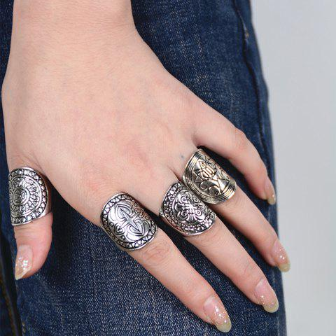 4 PCS Vintage Punk Round Rings - SILVER ONE-SIZE